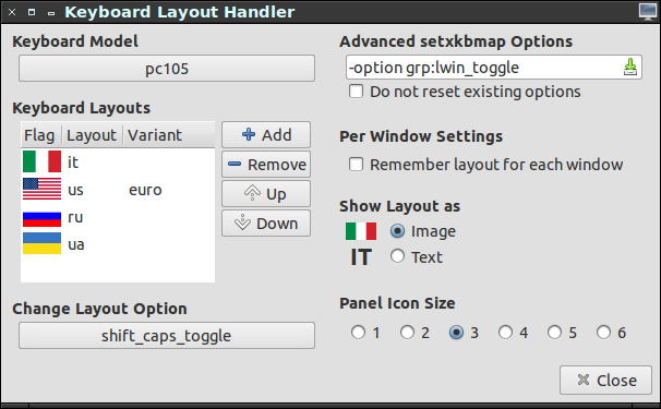 keyboard layouts handler